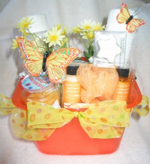 Bath & Candle - Orange Butterfly Spring Gift Basket