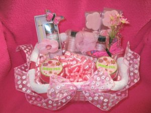 Bath & Candle - Pink Butterfly Spring Gift Basket