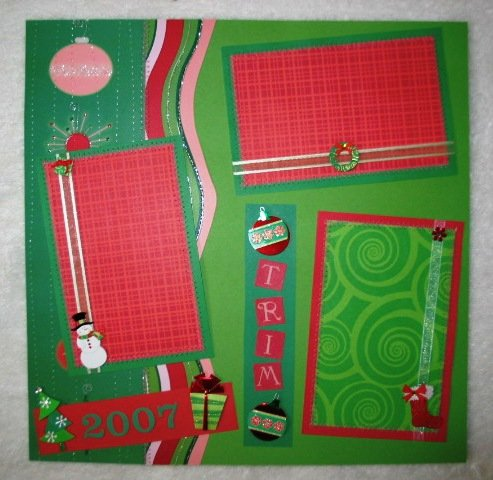 """Christmas """"Trim The Tree"""" 2-Page 12x12 Premade Scrapbook Layout"""