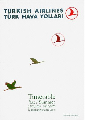 TURKISH AIRLINES - 2005 SUMMER DOMESTIC LINES TIMETABLE