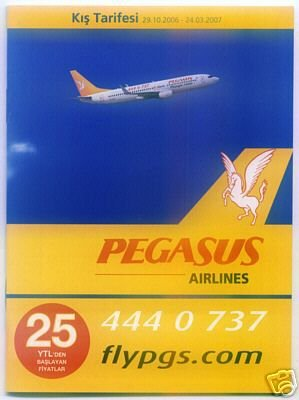 PEGASUS AIRLINES - TURKEY - 2006-7 WINTER SCHEDULE TIMETABLE