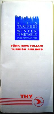 TURKISH AIRLINES - 1989-90 WINTER TIMETABLE - RARE