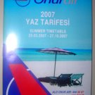 ONUR AIR - TURKISH AIRLINE - 2007 SUMMER TIMETABLE