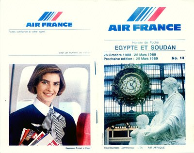 AIR FRANCE - 1988-89  EGYPT & SOUDAN TIMETABLE - RARE