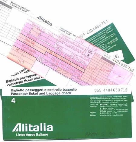 ALITALIA - 1981 FAR EAST 4 TICKET SET