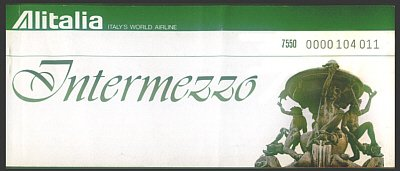 ALITALIA - 1981 INTERMEZZO TICKET - VERY RARE