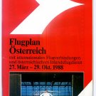 AUSTRIAN AIRLINES - 1988 SUMMER TIMETABLE