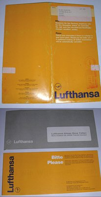 LUFTHANSA IN TURKEY - 1991 PSEUDO TICKET FORM, TICKET JACKET AND ENVELOPE SET