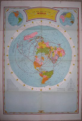 AIR AGE MAP OF THE WORLD - '30-'40 ERA - POLAR PROJECTION