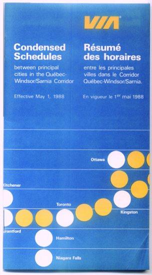VIA CANADIAN RAILWAYS - 1988 CONDENSED SCHEDULE TIMETABLE