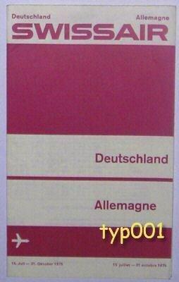 SWISSAIR - 1975 GERMANY SUMMER TIMETABLE & TARIFFS