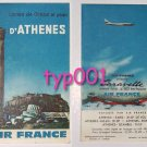 AIR FRANCE - 1950's MAP OF GREECE AND ATHENS