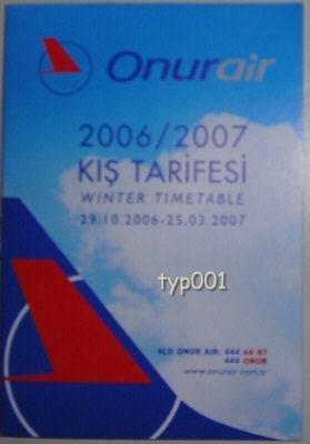 ONUR AIR - TURKISH AIRLINE - 2006-2007 WINTER TIMETABLE