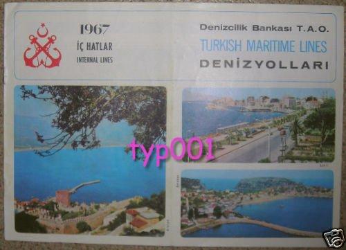 TURKISH MARITIME LINES - 1967 INTERNAL LINES SAILING SCHEDULE & FARES