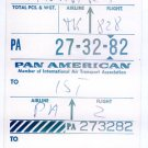 PAN AM - 1962 INTERLINE BAGGAGE CLAIM STUB TO ISTANBUL & ANKARA - TURKEY
