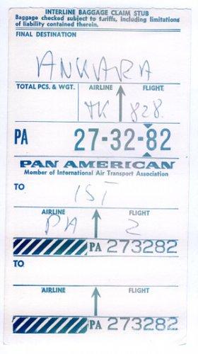 PAN AM - 1962 INTERLINE BAGGAGE CLAIM STUB TO ISTANBUL & ANKARA - TURKEY