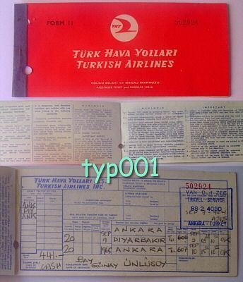 TURKISH AIRLINES - 1963 ANKARA-DIYARBAKIR-ANKARA RETURN TICKET