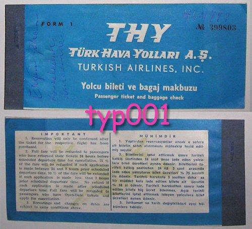 TURKISH AIRLINES - 1960 ANKARA - ISTANBUL ONE WAY TICKET