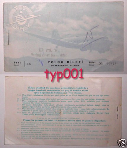 TURKISH STATE AIRLINES - 1951 ISTANBUL - ANKARA TICKET