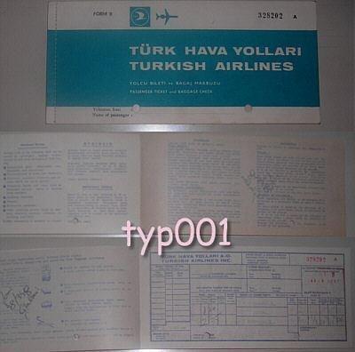 TURKISH AIRLINES - 1969 ISTANBUL-IZMIR-ISTANBUL RETURN TICKET - DARK TURQUOISE