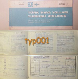 TURKISH AIRLINES - 1972 IZMIR - ISTANBUL - IZMIR RETURN TICKET