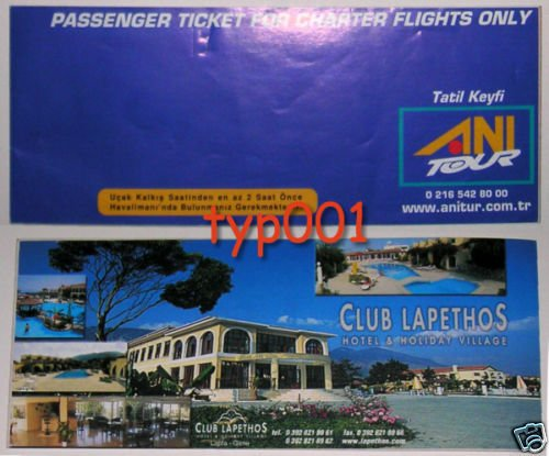 ANI TOUR - TURKEY - 2003 CHARTER TICKET ON SKY AIRLINES