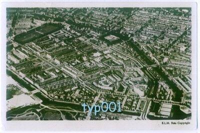 KLM - 1948 AMSTERDAM AERIAL VIEW B&W REAL PHOTO POSTCARD