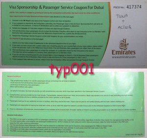 EMIRATES AIRLINES - 2004 VISA SPONSORSHIP & PASSENGER SERVICE COUPON FOR DUBAI