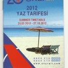 ONUR AIR - TURKEY - 2012 SUMMER TIMETABLE