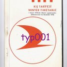 TURKISH AIRLINES - 1970 WINTER SYSTEM TIMETABLE & RATES - VISCOUNT, F-27 & DC-9