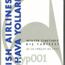 THY TURKISH AIRLINES - 1992-93 WINTER SYSTEM TIMETABLE - 2. EDITION