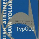 THY TURKISH AIRLINES - 1993-94 WINTER SYSTEM TIMETABLE - 1. EDITION