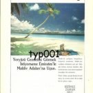 EMIRATES - 1988 - TO SEE THE HEAVEN ON EARTH FLY TO MALDIVES - TURKISH PRINT AD