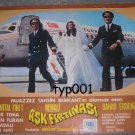 TURKISH AIRLINES - 1972  PILOT & STEWARDESS FILM -  HURRICANE OF LOVE LOBBY CARD