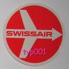 SWISSAIR 1960s ROUND AIRPLANE BAGGAGE STICKER LABEL