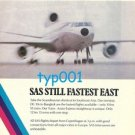 SAS SCANDINAVIAN AIRLINES - 1976 UNBEATABLE! STILL FASTEST EAST PRINT AD - DC-10