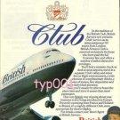 BRITISH AIRWAYS - 1980 CLUB CLASS PRINT AD