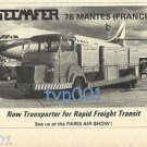 SECMAFER - 1973 - TRANSPORTER FOR AIRPORTS PRINT AD - AIR FRANCE CARAVELLE JET