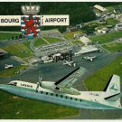 LUXAIR 1960'S FOKKER F-27  LX-LGA OVER LUXEMBURG FINDEL AIRPORT POSTCARD