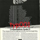 GARRETT - 1973 - CONGRATULATIONS APOLLO 17 - SPACE MISSIONS PRINT AD