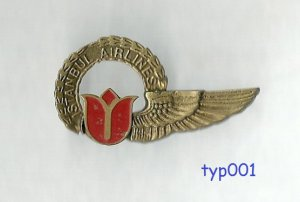 ISTANBUL AIRLINES - STEWARDESS WINGS - 2 - LATER LOGO - TURKISH - RARE