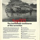 AEROSPATIALE & WESTLAND 1972 HELICOPTER  BATTLEFIELD WORKHORSE PRINT AD