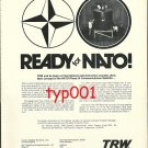 TRW SYSTEMS - 1973 NATO COMMUNICATIONS SATELLITE PRINT AD