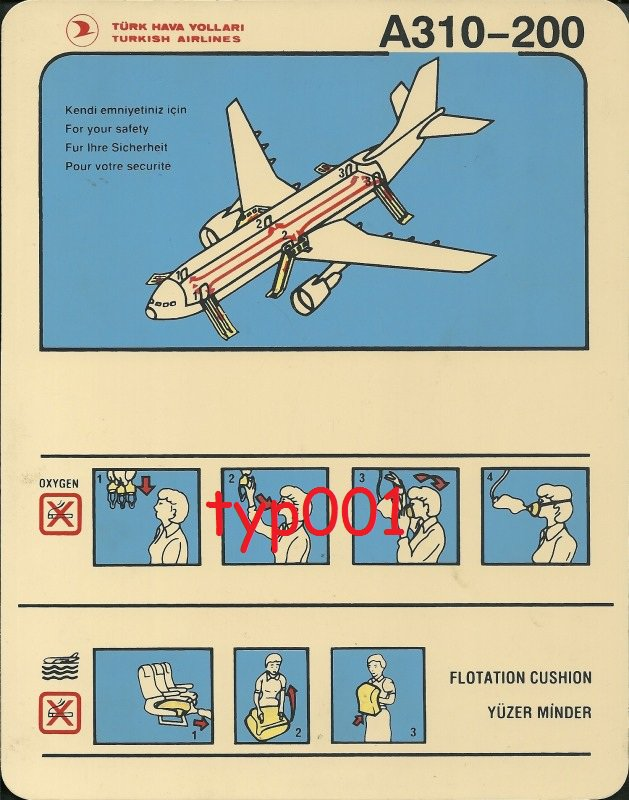 TURKISH AIRLINES - AIRBUS A310-200 SAFETY CARD - 01