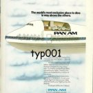 PAN AM - 1975 - WORLD'S MOST EXCLUSIVE PLACE TO DINE PRINT AD - B747 CUT AWAY