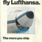 LUFTHANSA CARGO - 1975 - WINNERS FLY LUFTHANSA PRINT AD - SMILING B-747