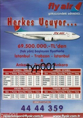 FLY AIR - 2003 TIMETABLE PRINT AD - DEFUNCT TURKISH AIRLINE
