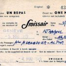 SWISSAIR - 1949 MEAL VOUCHER