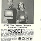 SONY - 1964 - OFFERS A CHOICE IN PERSONAL TELEVISION PRINT AD