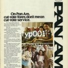 PAN AM - 1979 - ON PAN AM CUT RATE FARES DON&#39;T MEAN CUT RATE SERVICE PRINT AD